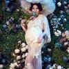 Pregnancy Elegant Fancy Gown White Lace Maternity Photography Props Royal Style Dresse Pregnant Women Photo Dress