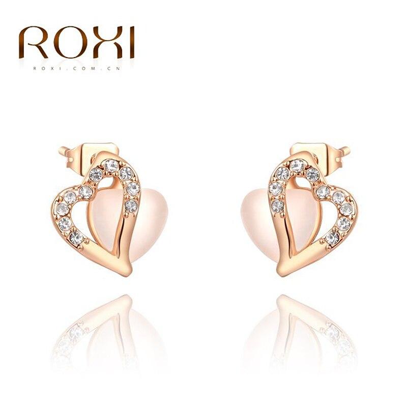 c4792d9b6b4d Roxi pendientes para las mujeres rosa de oro color amor estilo para boda  joyería de moda para el regalo del día de madre