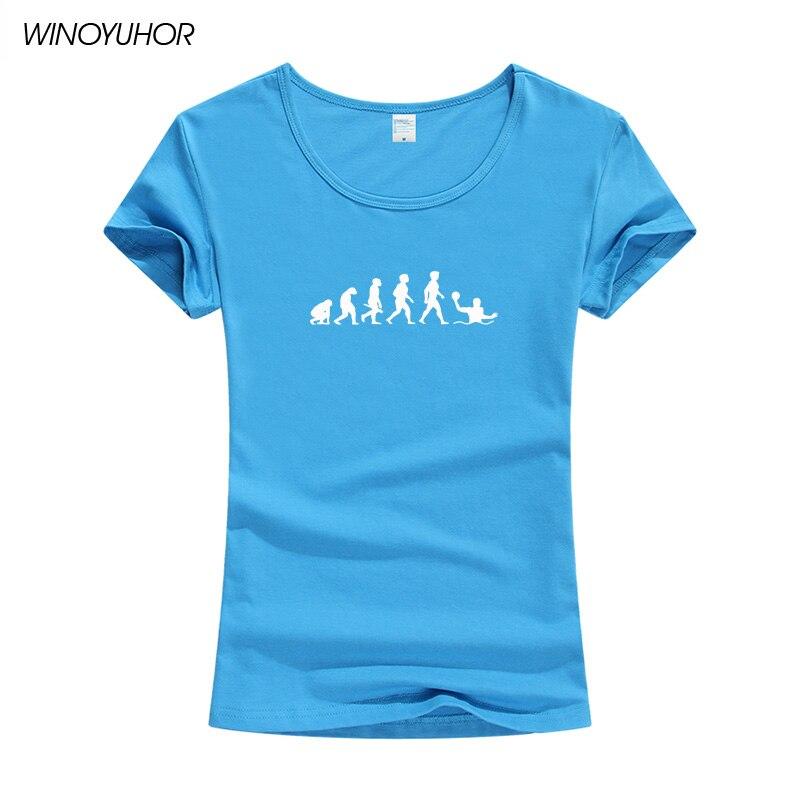 La evolución de Waterpolo jugador T camisa de las mujeres de moda de verano de manga corta de cuello redondo, Camiseta de dama gracioso chicas Tops Tee Camiseta