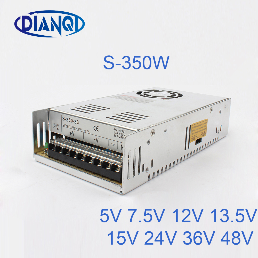 DIANQI 36V 48V Switching Power Supply 350w 5V 7.5V 12V 13.5V ac to dc converter transform for LED strip 15V 24V S-350 20pcs 350w 12v 29a power supply 12v 29a 350w ac dc 100 240v s 350 12 dc12v