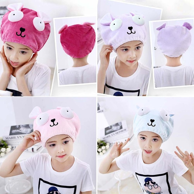 Cute Bath Towel Hair Dry Hat Shower Cap Strong Absorbing Drying Long