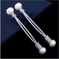 Temperament female long style star with natural pearl earrings with zircon anti allergy and accessories ear nail