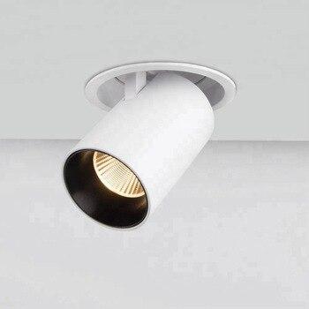 Blanc noir encastré réglage LED COB dimmable Downlights 85-265VAC 10W 20W LED plafonnier Spot