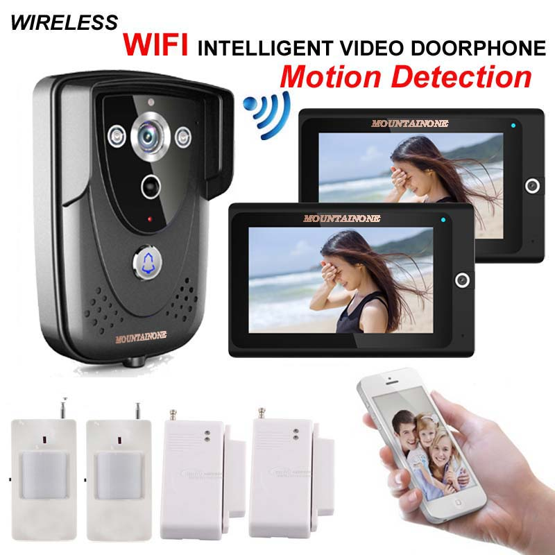 MOUNTAINONE Home high-definition intelligent WIFI network video door phone/doorbell with anti-theft alarm and motion detection