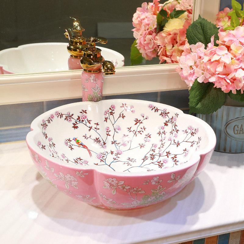 Pink And White Color Bathroom Counter Top Wash Basin Cloakroom Hand Painted Vessel  Sink Bathroom Sink