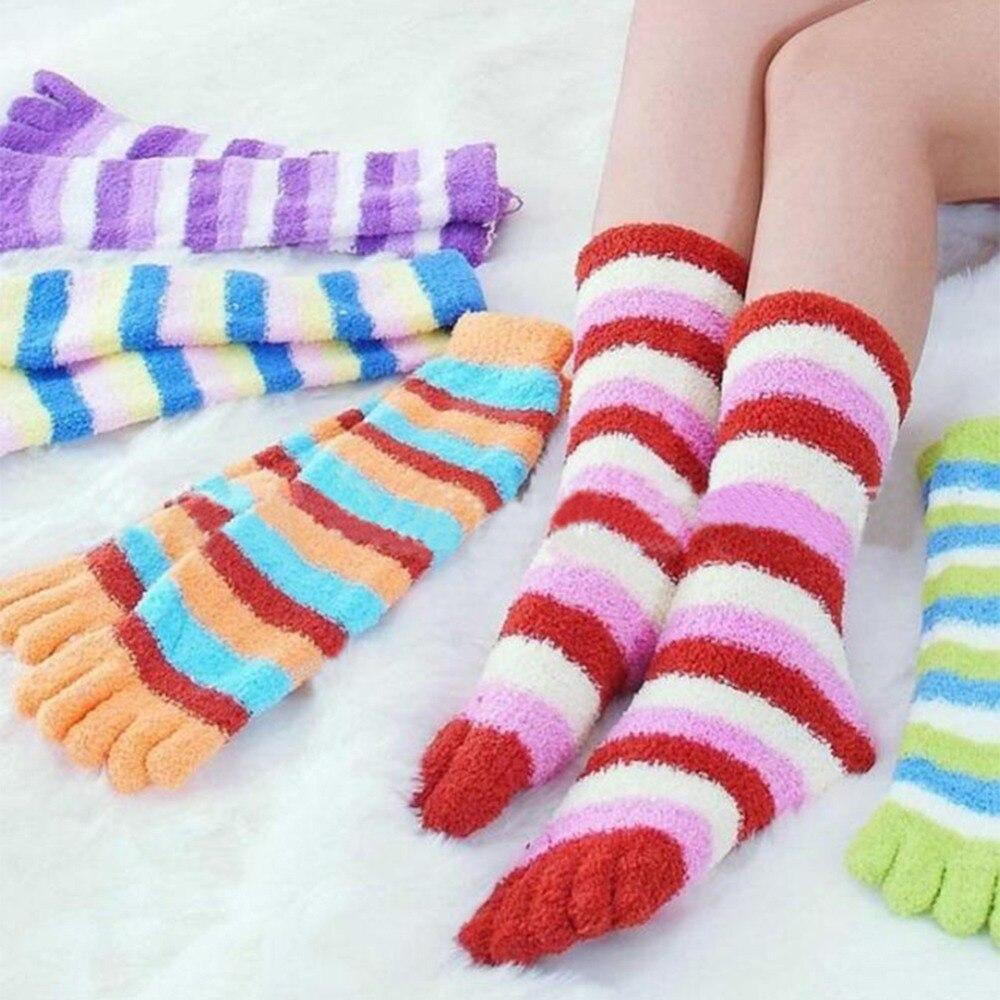 Hot Fashion Warm Long Women Girl Cotton   Socks   Five Fingers Toe   Socks   Stripes Randomly color