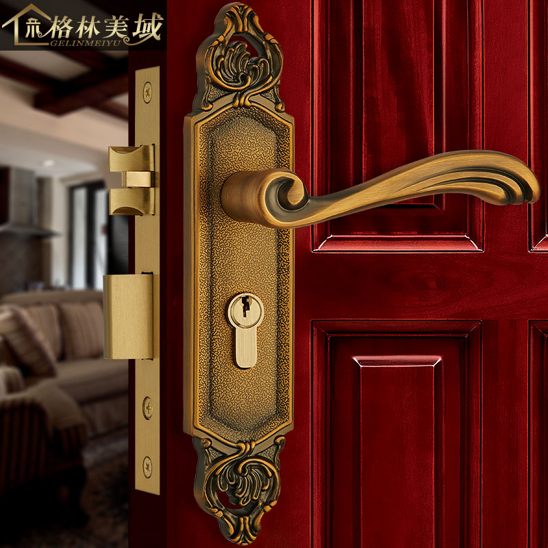 European full pure copper door lock interior door lock wooden door lock door lock handle handle hardware lock door hardware security 70 75mm cylinder interior room door lock tongue pressure lock handle lock key brass copper lock