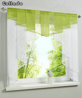 Fashion Pleated Design Stitching Colors Tulle Balcony Kitchen Window Curtain One Set