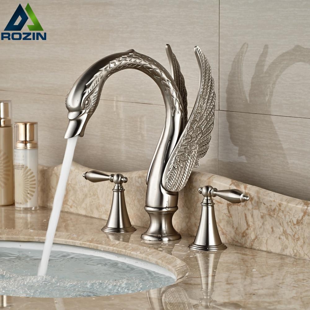 Nickel Brushed Dual Handle Swan Bathroom Sink Basin Faucet Widespread 3 Holes Mixer Tap Deck Mount brushed nickel deck mount waterfall basin mixer dual handle 3 holes bathroom faucet