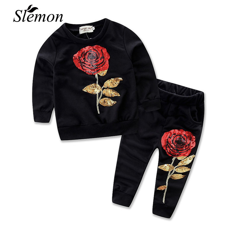 Girls Clothing Sets 2017 Spring Autumn Sportswear Long Sleeve Rose Floral Embroidered Sequins Kids Girl Clothes Active Suits