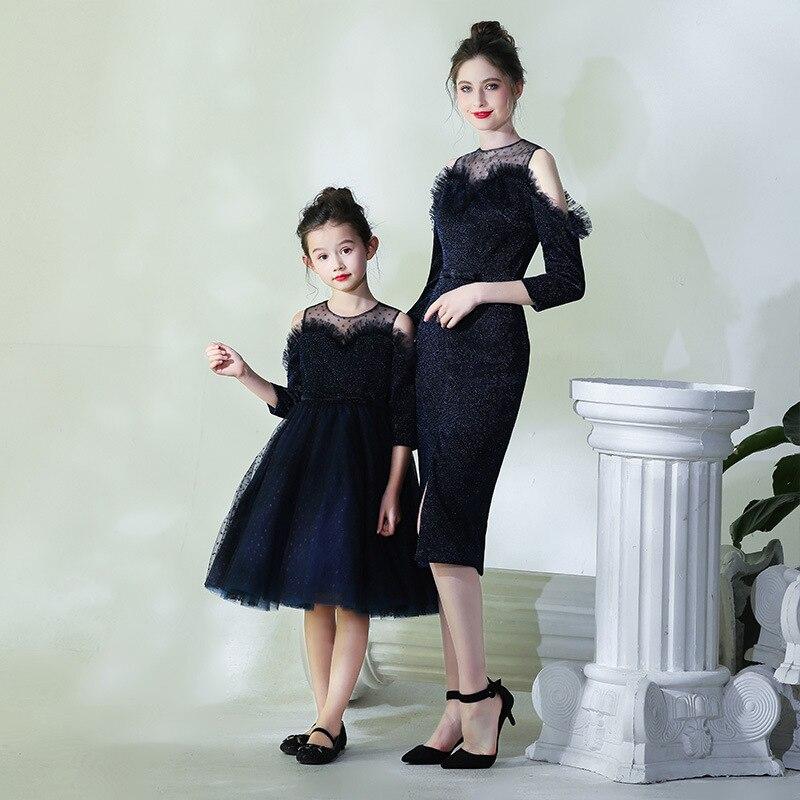 2019 maman et moi correspondant mère fille robes mode petit point maman et fille robe enfants Parent enfant tenues