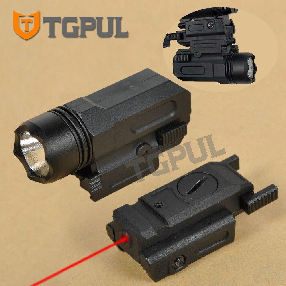 Tgpul 레드 닷 레이저 시력 전술 에어 소프트 권총 손전등 콤보 Led 전술 총 토치 20mm 레일 글록 17 19 18c 24 P226