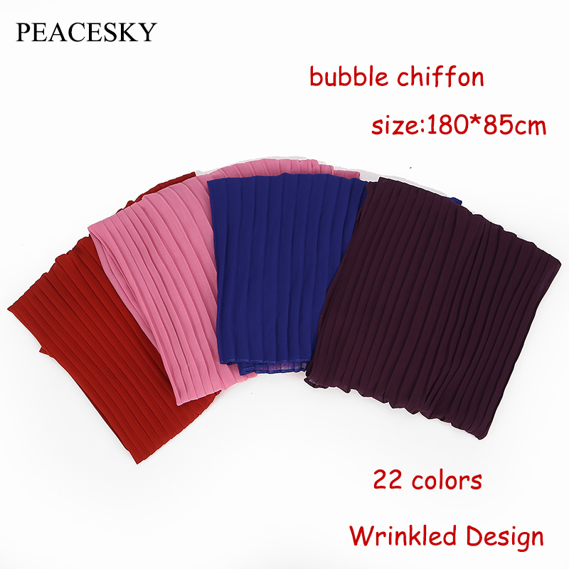 1 Pc Plain Pleat Bubble Chiffon Wrinkle Scarf Long Stripe Shawls Hijab Crumple Pashmian Muslim Scarves/scarf