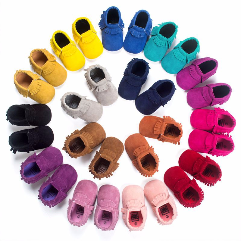 Baby Boy Girl PU Suede Leather Newborn Baby Moccasins Soft Moccs Shoes Bebe Fringe Soft Soled Non-slip Footwear Crib Shoes