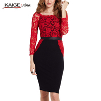 Kaige Nina New Women S Fashion Chinese Style Print Lace O Neck Knee Autumn Straight Dress