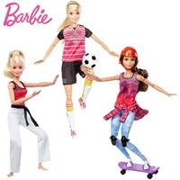 Original Barbie Doll For Girl Move Sports Set Skateboarder Martial Artist Soccer Player Girl Fashion Christmas