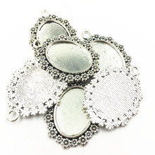 10Pcs Necklace Pendant Setting Cameo Base Tray Bezel Blank Silver Tone Flower Lace Oval Metal Fit 18x25mm Cabochon Jewelry 4X3cm