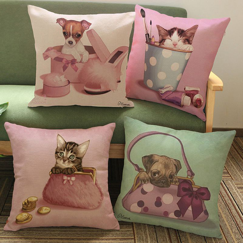 Hoomall 1PC Woven Cotton Linen Cushion Cover Print Bulldog Pug Dog French Decorative Pillows Car Sofa Bedroom Pillow Cover Decor