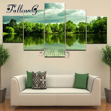 FULLCANG mosaic full embroidery 5d diy diamond painting 5 panel spring scenery pictures of rhinestone pasted mazayka G1205