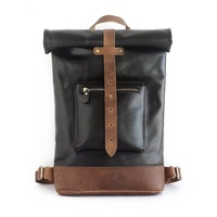 Japan Style High Quality Handmade Men's Large Backpack Genuine Cow Leather Folding Closure Boys Casual Travel Backpack For Man