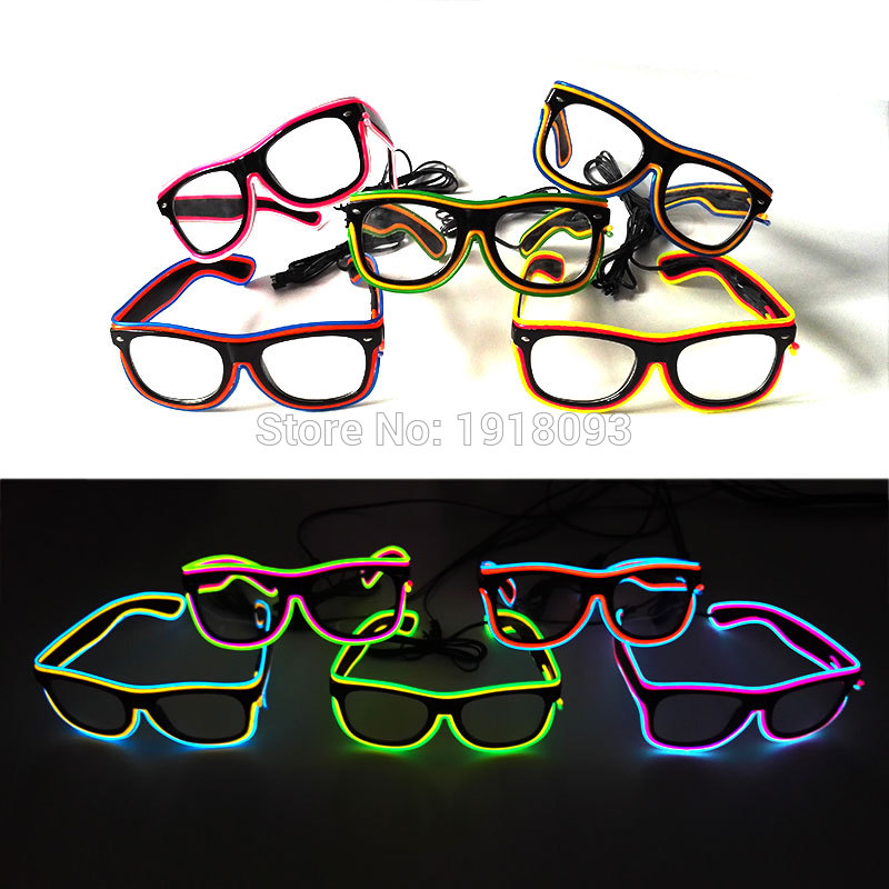 2020 New Bright Glasses 26 Style Flashing EL wire Novelty Lighting Neon LED Rave Costume Glowing For Halloween,Party,Cosplay