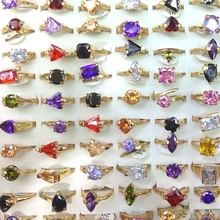 50pcs Gold Tone Real Zircon Rings Heart, triangle, square, flower, waterdrop Shapes Valentines Day Gift