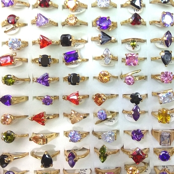 50pcs Gold Tone Real Zircon Rings Heart, triangle, square, flower, waterdrop Shapes Valentine's Day Gift