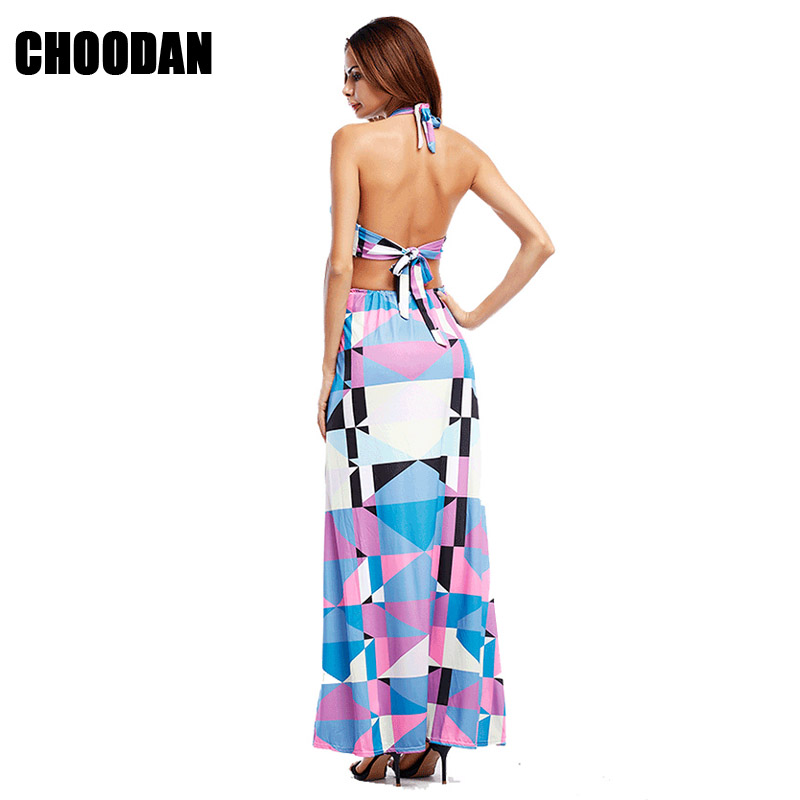 3fb55d4efba00 Maxi Dresses Women Backless Bohemian Dress Sexy Halter Summer Clothes Geometric  Pattern Spaghetti Strap Print Long Beach Dress-in Dresses from Women's ...