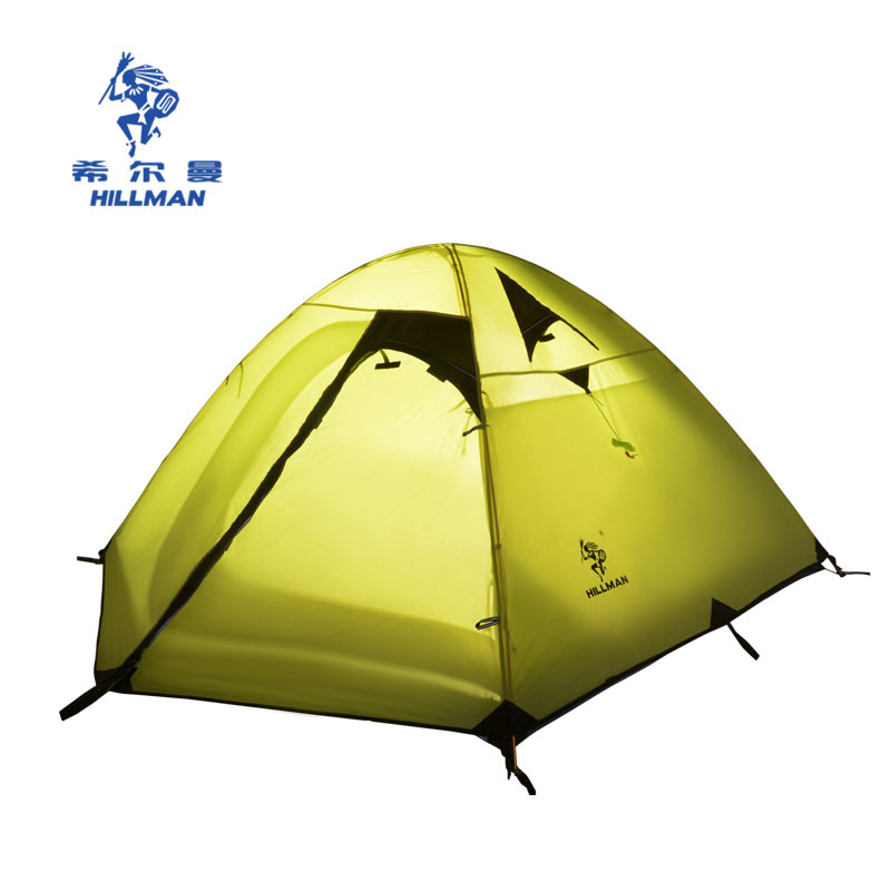 Hillman outdoor double layer anti-rain camping Mountaineering Tent 2-3persons aluminum pole high garde travel tent high quality professional camping tent suitable for 2 3persons double layer anti big rain 1hall 1room outdoor family tent