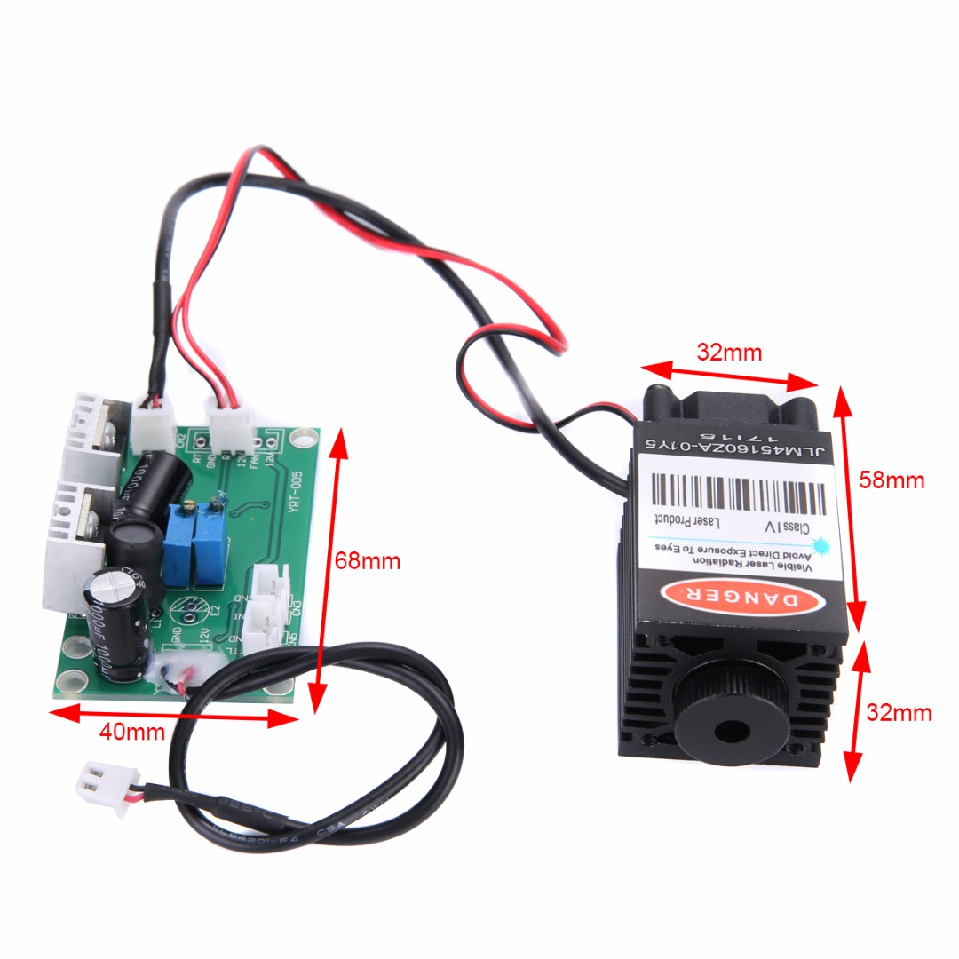 Focusable Industrial Laser Module With TTL Driver Board High Power Blue Laser Module 12V 1.6W 450nm for CNC Wood Carving noritsu blue laser head with driver pcb a type laser gun laser diode laser unit for qss 3000 3001 3011 3021 3101 china assembled