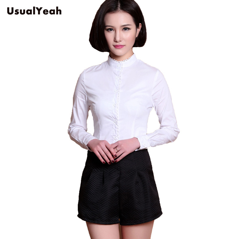 New 2018 Formal Womens Body Blouse Long Sleeve Button Top Shirt Strand Collar White Work wear S M L XL SY0217