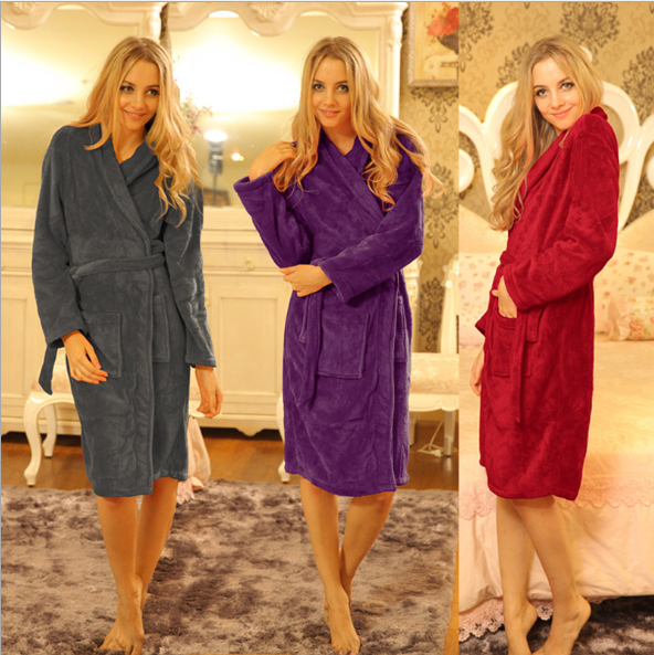 Coral Fleece Robes For Women Bathrobe Winter Robe Sexy Robes Dressing Gowns For Women Bathrobes Peignoir Femme Soie Albornoz
