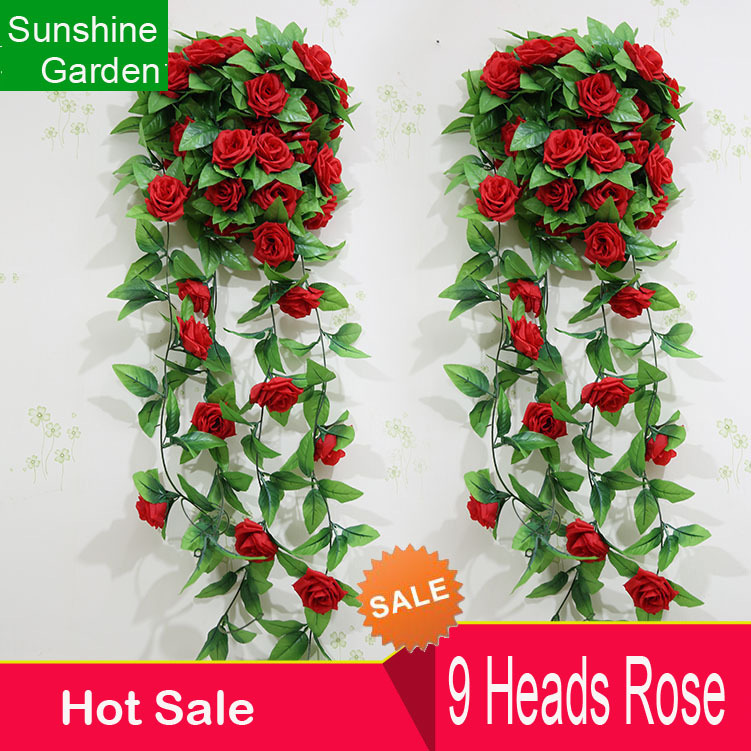 9heads Red Rose Garland Artificial Vines Hanging Silk Flowers