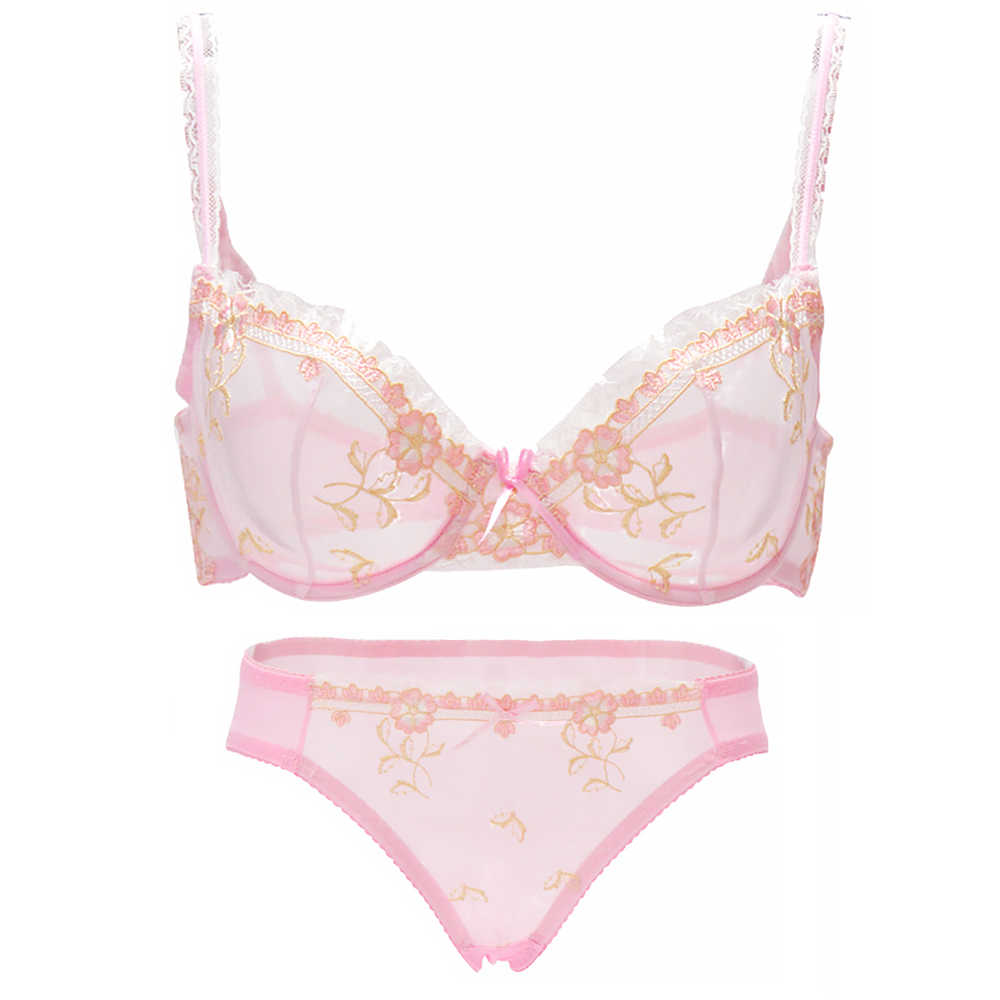 8d4b6bba8 Hot Beauty women bra panty SALES Separated thin transparent lace bow  embroidery set 70 75 80