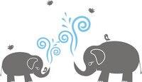二つの象の取り外し可能な壁アートステッカーキッズ保育園ベビールームビニールデカールdiyリムーバブル壁紙熱い販売壁画sa392