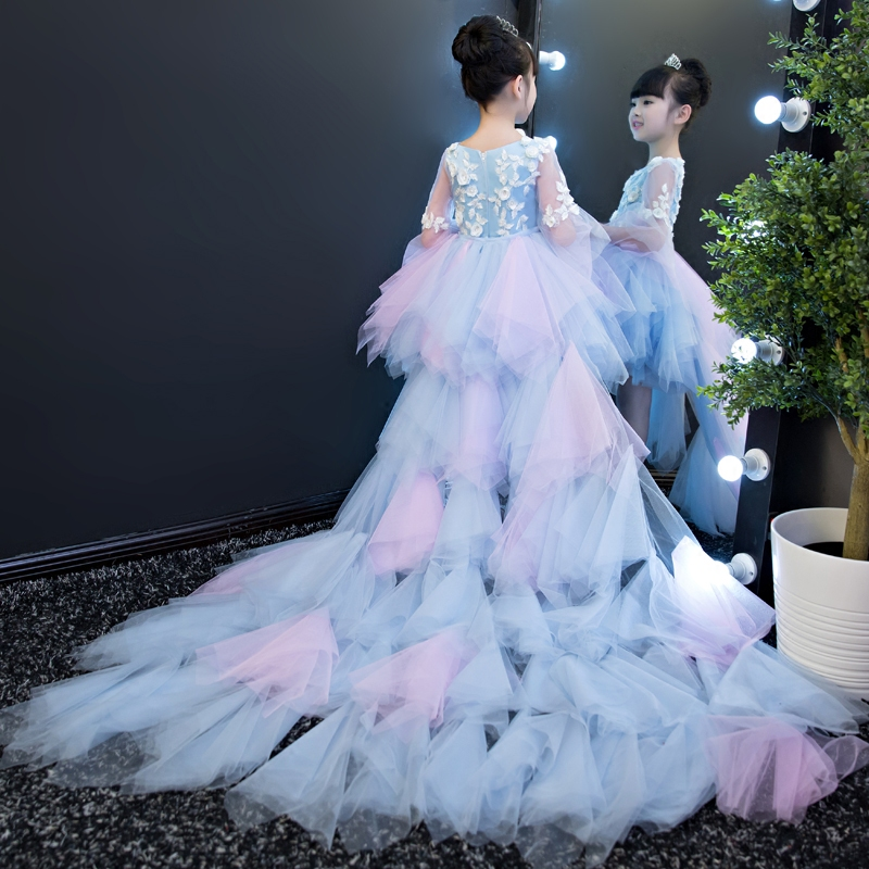 Floral Girls Gown Dress Evening Ball Gown Flower Girl Dresses Wedding Long Tailing Party Costume Kids Pageant Dress Birthday B78 girls pageant formal dresses 2018 tailing floor length ball gowns flowers girls princess dress kids birthday party wedding dress