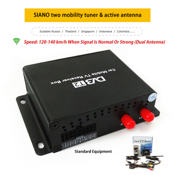 120~140KM/H Dual Antenna Car Digital TV Turner DVB-T2 Mobile Digital TV Receiver for Russia Colombia Singapore Thailand Colombia