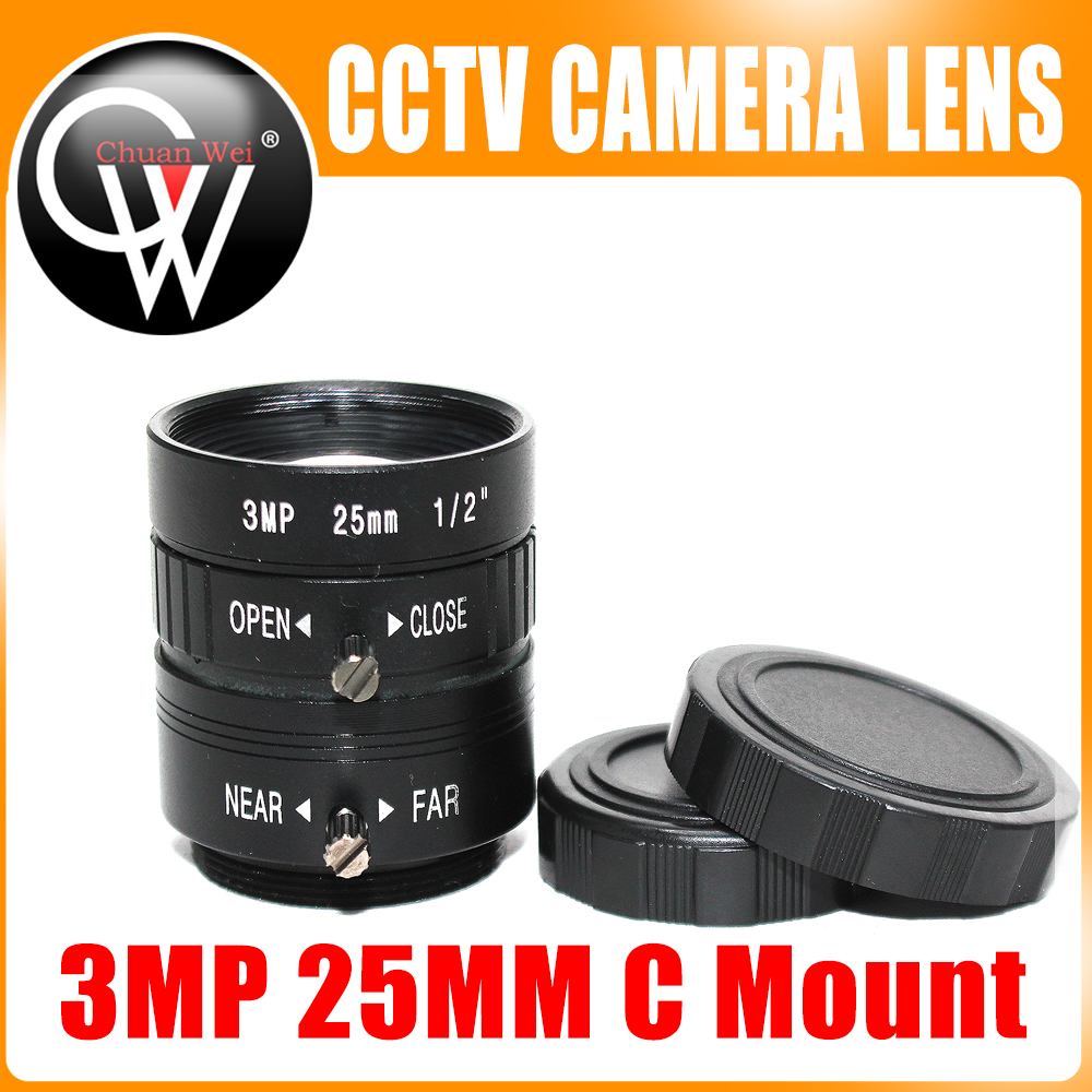 5pcs lot 3MP 25mm HD Industrial Camera Fixed Manual IRIS Focus Zoom Lens C Mount Lens