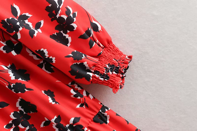 19 women fashion floral print red long dress ladies o neck pleated big swing chic vestidos retro brand party dresses DS1897 8