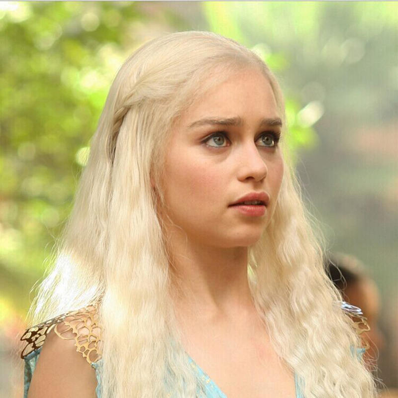 Game of Thrones blonde Wig Daenerys Targaryen Cosplay Khaleesi Halloween Costume women Role Play Synthetic Hair Long Wigs + Cap
