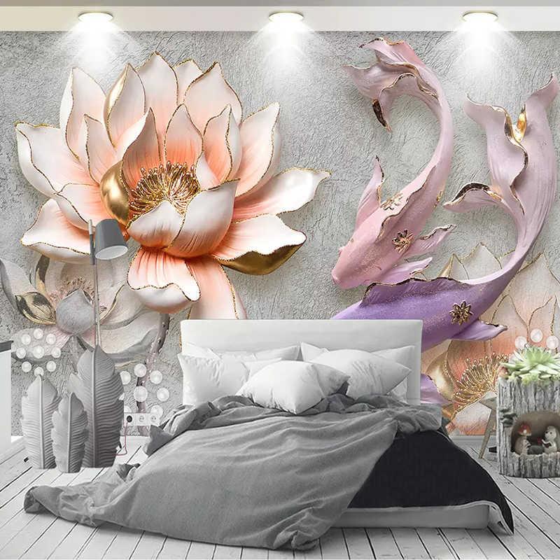 תמונה מותאמת אישית טפט 3D סטריאו מובלט לוטוס דגים גדול ציורי קיר ציור מודרני סלון חדר שינה רקע תפאורה קיר