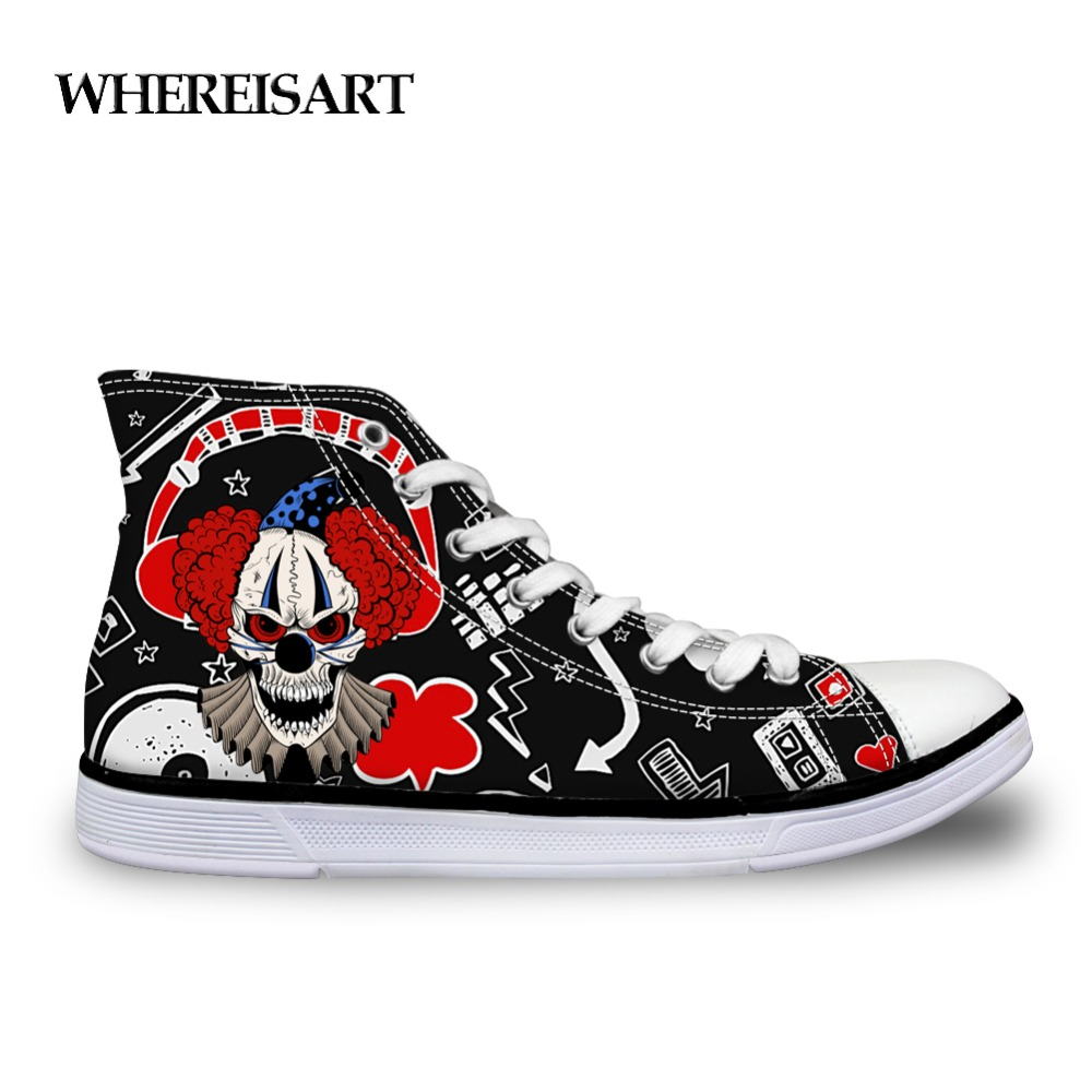 WHEREISART Vulcanized Shoes Men Graffiti Shoes Casual Clown Comic Pattern Shoes Man Trendy High Top Sneskers For Boy Espadrilles in Men 39 s Vulcanize Shoes from Shoes
