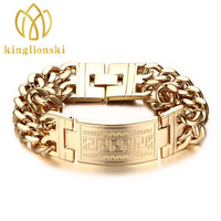 Men S 316L Stainless Steel Jewelry Great Wall Pattern Gold Color Double Hand Chain Men Bracelet