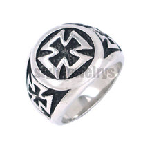 German Army Iron Cross Ring Stainless Steel Jewelry Masonic Motor Biker Knight Men Wholesale Ring SWR0056A