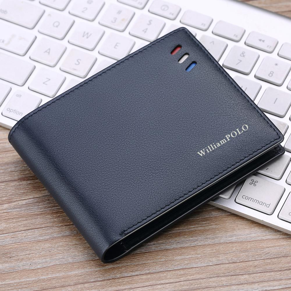 WilliamPOLO Wallets Men Short Business-style Red-white-blue Strip Card Holder Slots Ultrathin Genuine Leather Portable Purse New