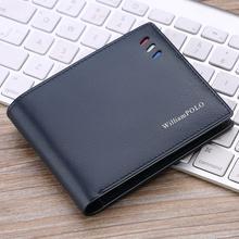WilliamPOLO portefeuilles hommes en cuir véritable, court, Portable, de style Business, avec bande rouge blanc bleu, fentes pour cartes, portefeuille ultra mince, nouveau