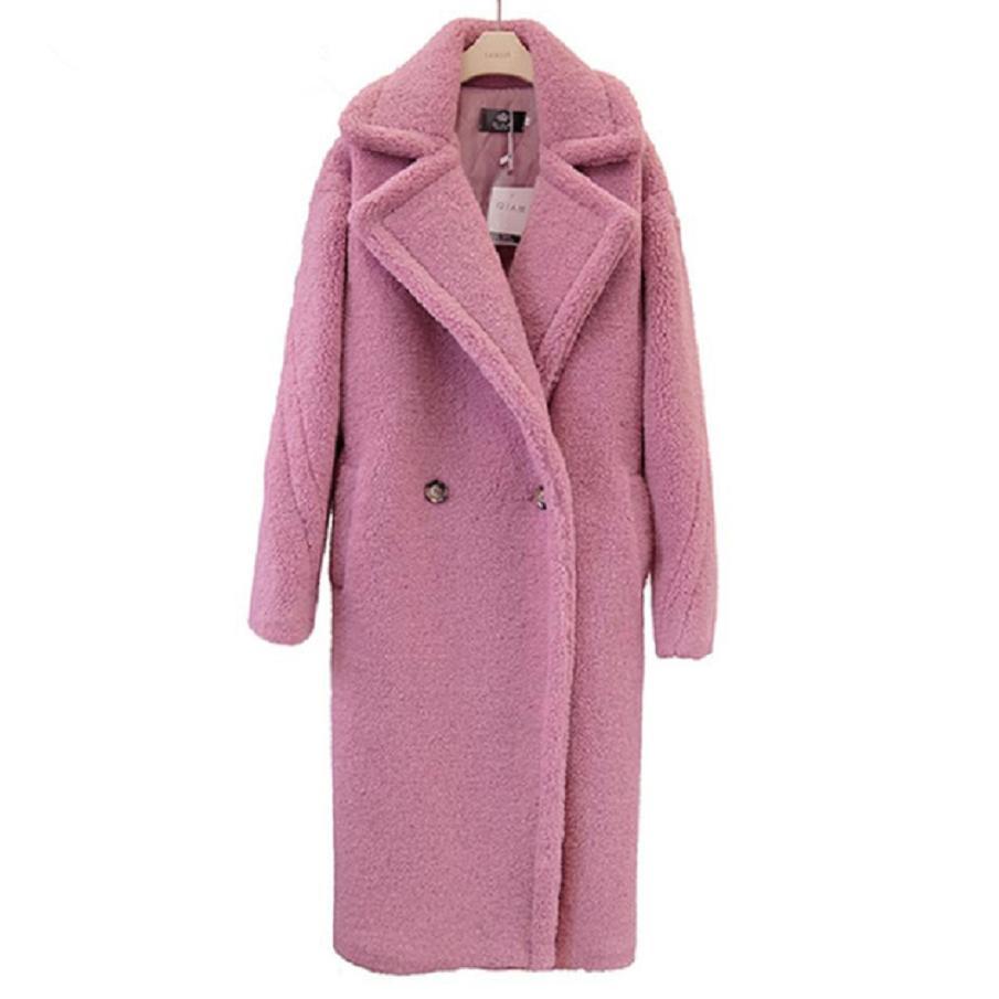 2018 Winter Fashion Women's Jacket Teddy Coat Faux Fur Long Coat Female Lamb Fur Coat Double Breasted Fake Fur Outwear L1684