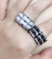 new stainless steel Brand ceramic Rings for Women Men Couples Cubic Zirconia Wedding band ring soft white black ceramics rings