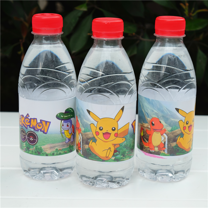 12pcs Cartoon Anime pokemon go Pikachu water bottle label candy bar kids birthday party supplies baby shower party favor