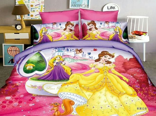 3D Princess Bedding SetS Childrenu0027s Girlu0027s Bedroom Decor Single Twin Size Bed  Sheets Quilt Duvet Covers